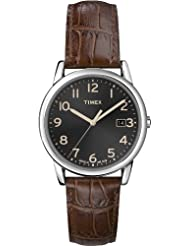 Timex Mens T2N948GP Classics Black Dial Brown Leather Strap