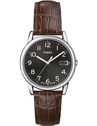 Timex Mens T2N948GP Classics Black Dial Brown Leather Strap