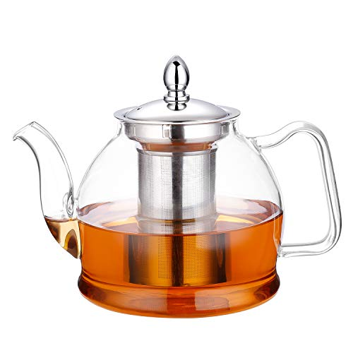 (Hiware 1000ml Glass Teapot with Removable Infuser, Stovetop Safe Tea Kettle, Blooming and Loose Leaf Tea Maker Set)