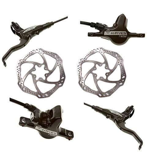 Hayes Radar Bike Brakes, Hayes-Brakes, Bike Hydraulic Disc Brakes, Front Hose 800mm Rear Hose 1450mm, 2pc 160 rotors (Radar Comp)