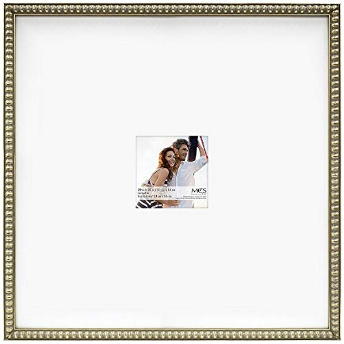 MCS 20x20 Inch Signature Beaded Frame with 5x5 Inch Mat Opening, Champagne (47609)