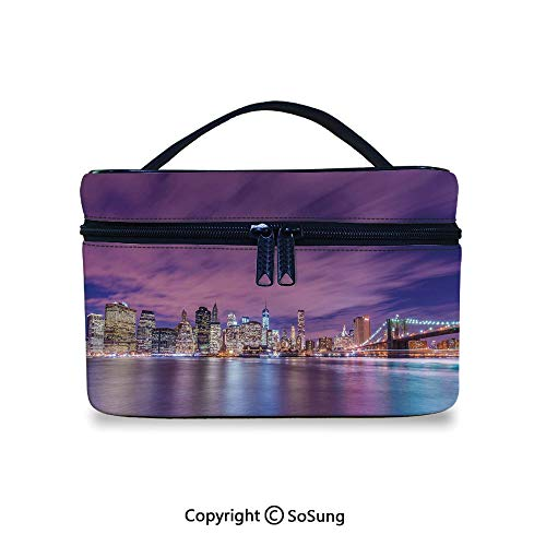 Modern Toiletry Bag Portable New York City Skyline at Night with Skyscrapers Manhattan USA American PanoramaWaterproof Toiletry Bag,9.8x7.1x5.9inch,Violet Purple ()