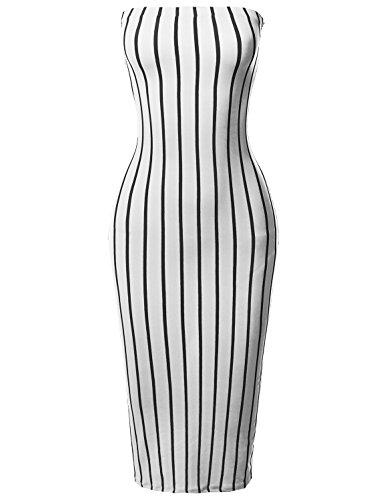 Tight Fit Pinstripe Print Body-Con Tube Midi Dress White S