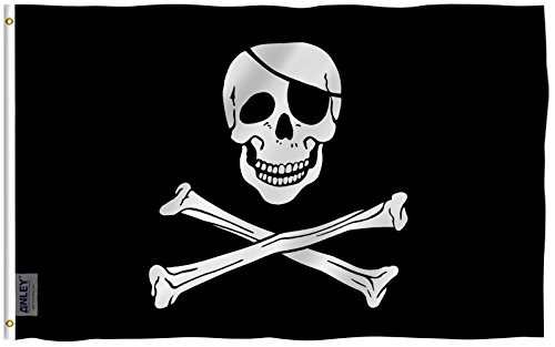 Anley Fly Breeze 3x5 Foot Jolly Roger Flag with Patch - Vivid Color and UV Fade Resistant - Canvas Header and Double Stitched - Pirate Flags Polyester with Brass Grommets 3 X 5 Ft Pirate Flag Fabric