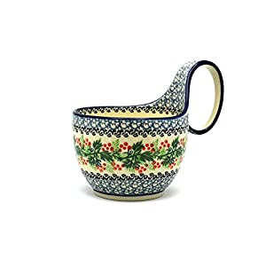 Polish Pottery Loop Handle Bowl – Holly Berry
