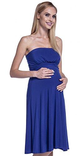 Happy Mama. Mujer Vestido Sedoso Sin Tirantes Palabra de Honor Premamá. 129p Azul Real