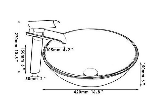 GOWE Black Round Tap Bathroom Sink Washbasin Glass Hand-Painted Lavatory Bath Combine Brass Set Faucet,Mixer Tap 1