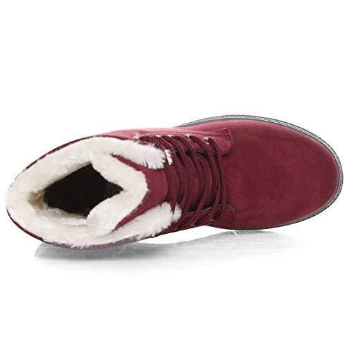 Botines Gris Nieve 2 2 Zapatos 35 Calientes Invierno Ancho Rojo Rojo Tacon Fur Casual Cordones Botas Negro Azul Ante Altas 5cm 43 Mujer Planos De Tobillo Hrq68Hw