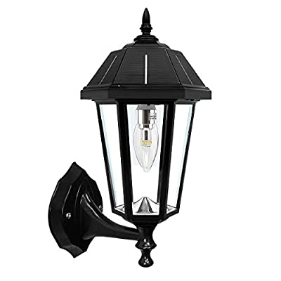 """GAMA SONIC Topaz Solar Lamp, 3"""" Fitter Mounts for Wall Post or Pier, Black (GS-149BFPW)"""