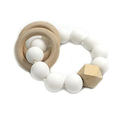 Amyster DIY Baby Teether Nursing Bracelet Food Grade Silicone Teether Wooden Teether Ring Teether Nature Safe Organic Infant Baby Bangle Teether Toys : Baby