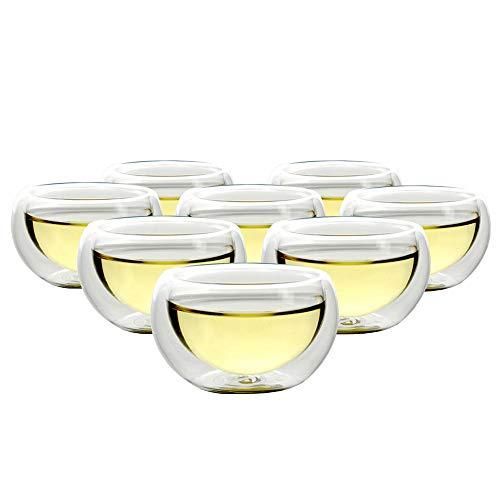 Set of 8 Teaology Luna Double Wall Borosilicate Tea/Espresso Cups ()