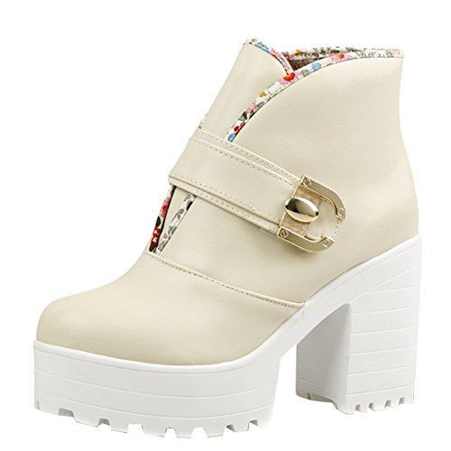 Carolbar Womens Sweet Lolita Cosplay Platform Decorative Border Boots Beige