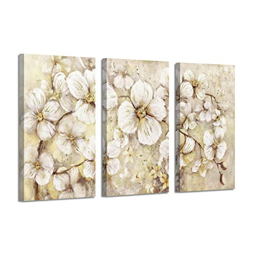 (Abstract Flower Picture Canvas Art: White Bloom Gold Foil Print for Wall Decor)