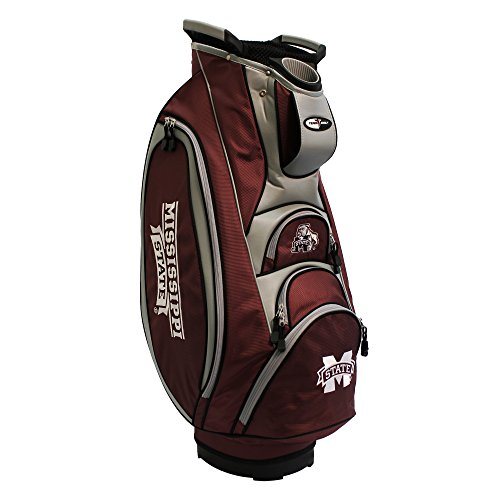 Team Golf NCAA Mississippi State Bulldogs Victory Golf Cart Bag, 10-way Top with Integrated Dual Handle & External Putter Well, Cooler Pocket, Padded Strap, Umbrella Holder & Removable Rain Hood