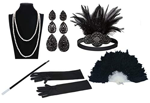 1930 Halloween Decorations (Women 1920s Style Deco Flapper Art Gatsby Feather Headband Hand Fan Faux Pearls Necklace Gloves Cigarette Holder for)