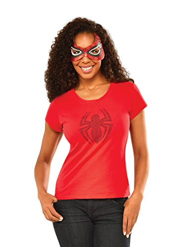 Rubie's Marvel Women's Universe Spider-Girl Rhinestone T Shirt, Multi, Large ()