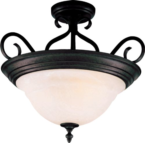 Marble Semi Flush - Maxim 2652MRKB Pacific 3-Light Semi-Flush Mount, Kentucky Bronze Finish, Marble Glass, MB Incandescent Incandescent Bulb , 60W Max., Dry Safety Rating, Standard Dimmable, Metal Shade Material, 1300 Rated Lumens