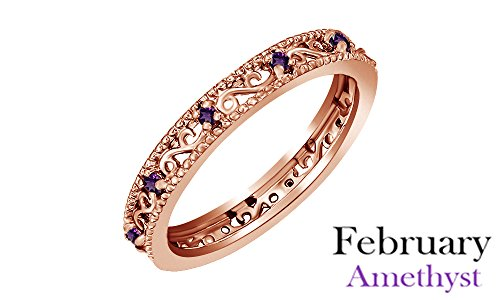 Round Cut Purple Simulated Amethyst Stackable Ring In 14K Rose Gold Over Sterling Silver