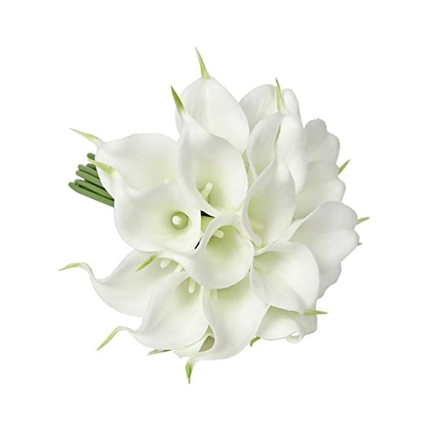 Meide Group USA 14″ Real Touch Latex Calla Lily Bunch Artificial Spring Flowers for Home Decor, Wedding Bouquets, and centerpieces (18 PCS) (White)