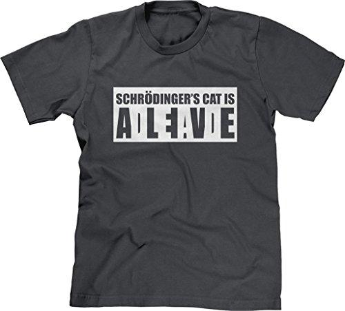 Blittzen Mens T-Shirt Schrodinger's Cat Alive Dead, XL, Charcoal (Dead Alive T Shirt)