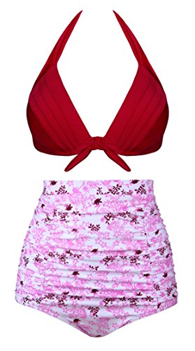 Aixy Women Vintage Two Piece Swimsuits High Waisted Bathing Suits,Pink,2XL by Aixy
