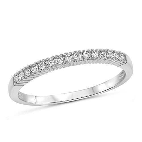 0.10 Carat (ctw) 14k White Gold Round Prong Set Petite Filigree Stackable Anniversary Ring Wedding Band (2mm) 1/10 CT - Size 8 ()