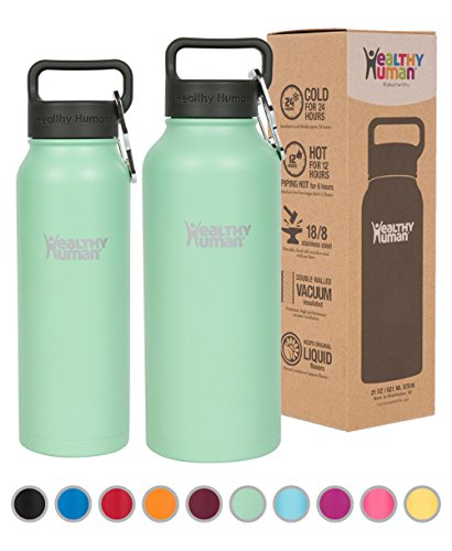 Healthy Human Water Bottle - Cold 24 Hours, Hot 12 Hours. Vacuum Insulated Stainless Steel Double Walled Thermos Flask with Carabiner & Hydro Guide - Seamist - 32 oz