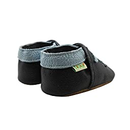 Sayoyo Baby Cute Dolphin Soft Sole Black Leather Infant And Toddler Shoes 18-24Months