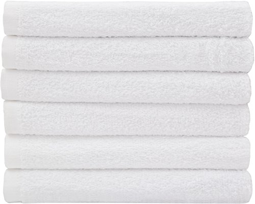 Hotel-Spa-Pool-Gym Cotton Hair & Bath Towel - 6 Pack, White, Super Soft, Easy Care, Ringspun Cotton for Maximum Softness and Absorbency (22''x 44'') By Utopia Towel by Utopia Towels