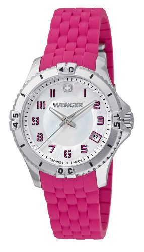 Wenger Squadron Women's Quartz Watch with Mother of Pearl Dial Analogue Display and Pink Silicone Strap 010121101