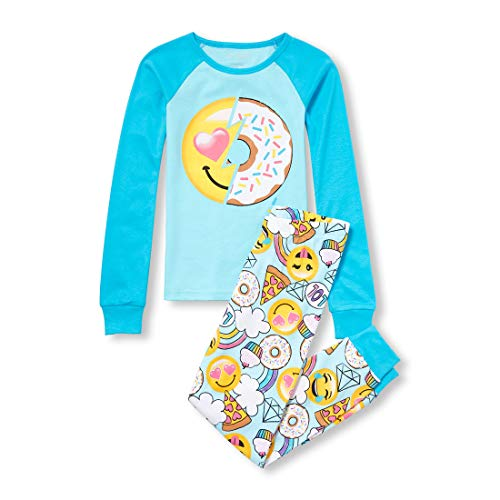 The Children's Place Girls' Big Graphic Pajamas Sets, SOFTMARINE, 5