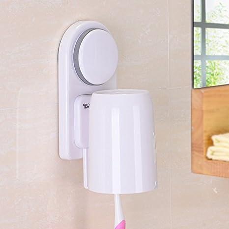 Succión potente porta cepillo de dientes cepillo de dientes Jarra cristal montado en pared en rack