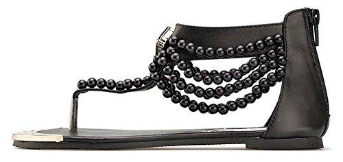 Aisun Femmes Boho Perlé Couvert Talons Ouvert Split Orteil Plat Beachthong Flip Flop Sandales Chaussures Noir