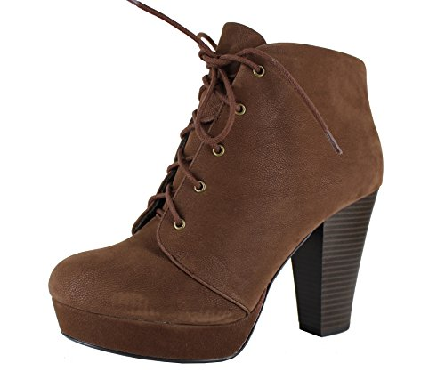 SODA Women's Agenda-H Lace-Up Chunky Heel Platform Ankle Bootie (Nubuk Brown, 8.5 M US)