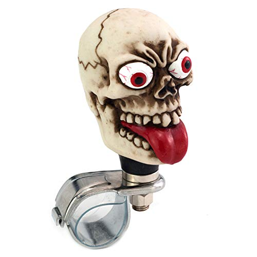 (Thruifo Skull Steering Wheel Spinner Suicide Knob, Funny Grimace Style Car Power Handle Grip Knobs Fit Most Manual Automatic Vehicles)