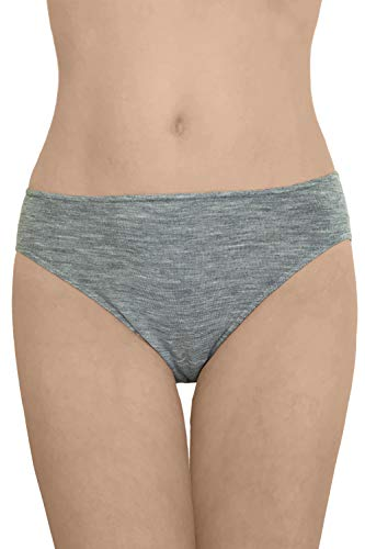 (Women's Thermal Panties Briefs, Moisture Wicking Merino Wool Silk (EU 42-44/ M, Grey))