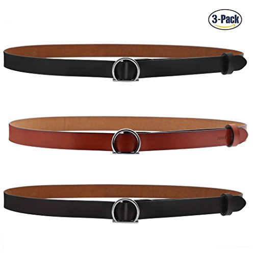 - ANDY GRADE Set of 3 Women's Genuine Cowhide Leather Stylish Thin Dress Belt Fashion Vintage Casual Skinny Belts for Jeans Shorts Pants Summer for Women With Alloy Buckle By (Black,Brown,Orange)