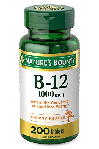 Nature's Bounty Vitamin B-12 Supports Energy Metabolism, 1000mcg, 200 Coated Tablets