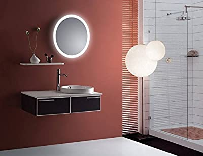 """Round LED Lighted Wall Mount Bathroom Mirror """"Sol"""" with Defogger (Fog Free) 22"""" Diameter"""