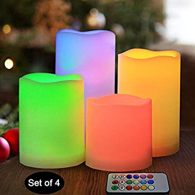 """HOME MOST Set of 4 Waterproof LED Flameless Color Changing Candles with Remote (3""""/4""""/5""""/6"""" Tall, Wavy Edge) - Multicolor Candles Battery Operated - Outdoor Flameless Candles Fake Candles Home Décor"""