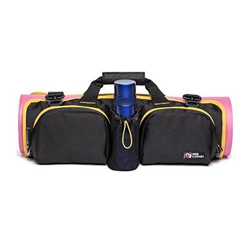 Sac pour tapis de yoga pliable avec poches pour tapis de yoga Sac de rangement Sports Sac à bandoulière réglable pour homme femme (inclus 1Bleu pliable Crochet)