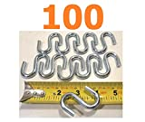 100Pk Reliable 2''x6mm Wire S-Hook Zinc Steel S-Shaped Connectors up 150Lb Quick Delivery