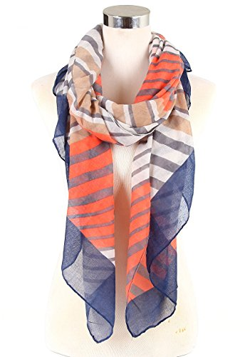 Women's Lightweight Scarf Strip Print Various Designs (Muilt Navy Strip)