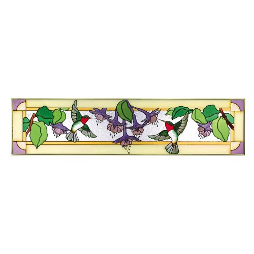 Fuchsia Painted Glass Panel (Transom Window Panel)