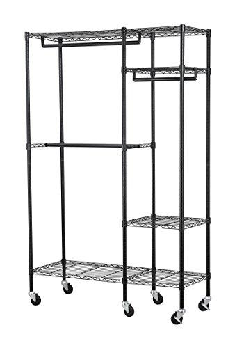 (Muscle Rack EZGR4818RW3-BLK 4-Shelf Steel Garment Rack in Chrome with Wheels, 150 lb. Load Capacity, 74