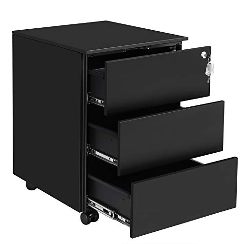 SONGMICS Mobile File Cabinet, Lockable, Pre-Assembled, with 3 Drawers, Hold Documents, Stationery, 15.4 x 17.7 x 21.7 Inches, Matte Black UOFC63BK (Already Drawers Assembled Of Chest)