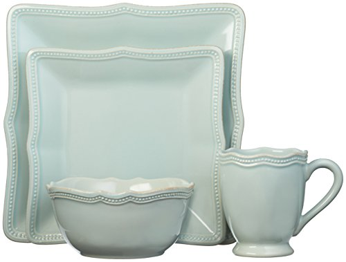 Ice Blue Porcelain (Lenox French Perle Bead Square 4 Piece Place Setting, Ice)