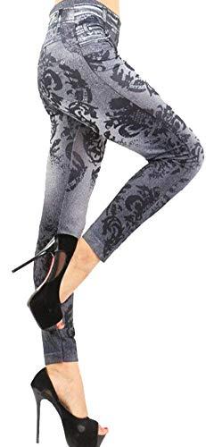 Muster Mariposa Bolsillos Ajustadas De Para Mallas Modernas Moda Con Botones Pantalones Casual Estampado Mujer 14 Mezclilla Haidean Vaqueros qIwga4AA