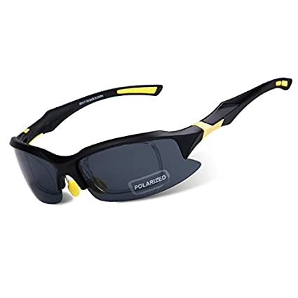 ff29f8ef18 yellow black   OBAOLAY Sport Cycling Sunglasses Bike Goggles Fishing  Cycling Glasses Eyewear Men Polarized Lens Gafas Ciclismo Bicycle glasses   Amazon.in  ...