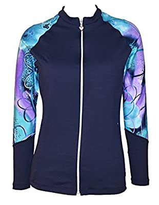 Private Island Hawaii Women UV Wetsuits Long Raglan Sleeve Rash Guard Top Zipper Jacket Pocket, Outdoor Yoga/JRGTS